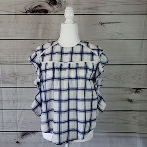 Zara Trafaluc•XS top plaid peasant sleeves